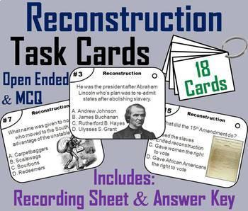 Civil War Reconstruction Task Cards and Activities Bundle