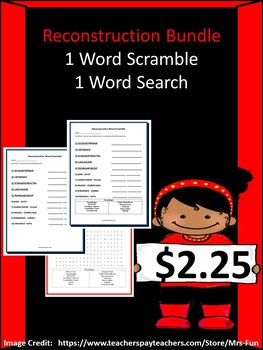 Reconstruction/The Civil War-  1 Word Scramble & 1 Word Search