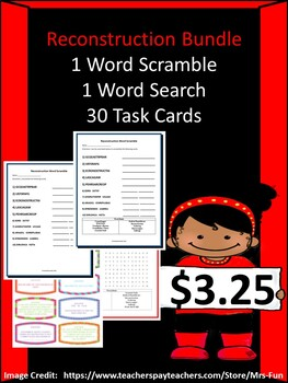 Reconstruction/The Civil War- 30 Task Cards, 1 Word Scramble & 1 Word Search)