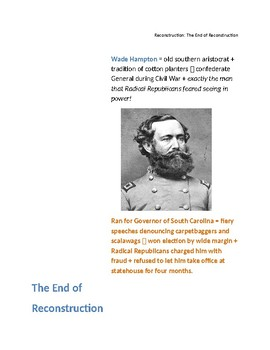 Reconstruction:  The End of Reconstruction (Cornell Notes)