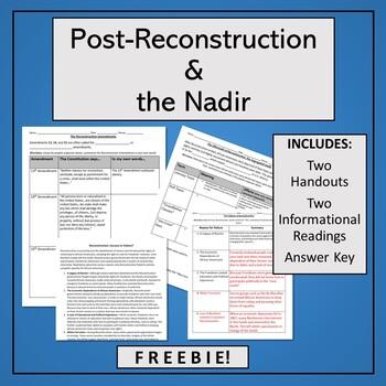 Reconstruction & The Nadir Worksheet Bundle