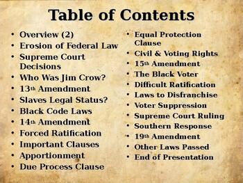 Reconstruction - The Reconstruction Amendments