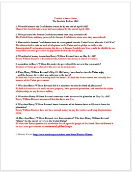 Reconstruction: The South in Defeat 1865 Primary Source Worksheet