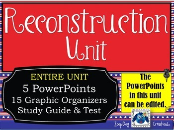 Reconstruction UNIT PowerPoints, Graphic Organizers, Study Guide, Test