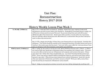 Reconstruction Unit Plan: US History