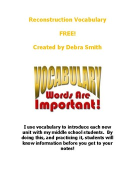 Reconstruction Vocabulary