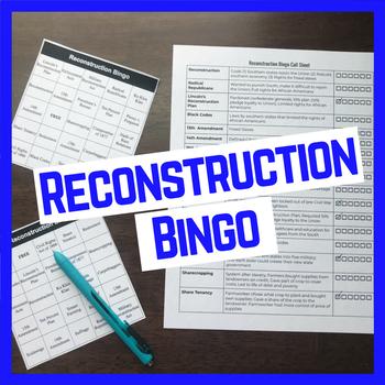 Reconstruction Vocabulary Bingo, Call Sheet