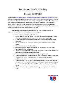 Reconstruction Vocabulary: Desmos Card Match