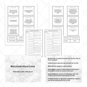 Reconstruction:  Vocabulary Fold Up