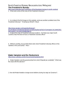 Reconstruction Webquest - South Carolina History