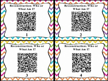 Reconstruction Who or What Am I QR Code Cards (GMAS:  SS4H6)