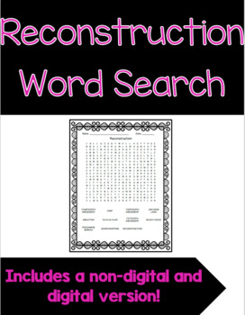 Reconstruction Word Search FREEBIE