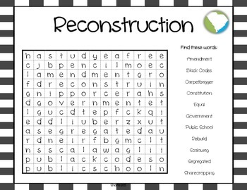 Reconstruction Word Search FREE