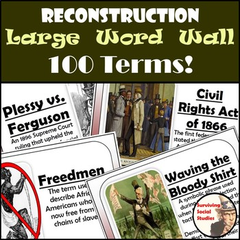 Reconstruction Word Wall - 100 Terms - Definitions & Images - One per Page