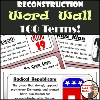 Reconstruction Word Wall - 100 Terms - Definitions & Image