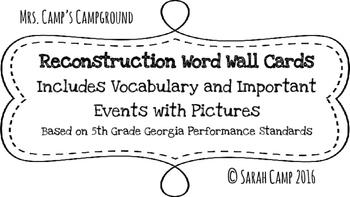 Reconstruction Word Wall/Bulletin Board Cards