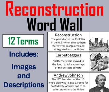 Reconstruction Word Wall Cards