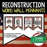 Reconstruction Word Wall Pennants, American History Word Wall
