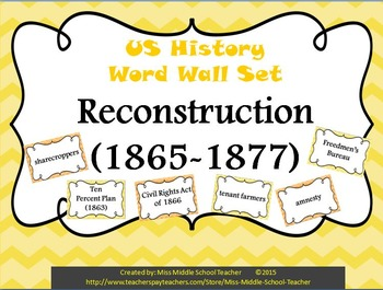 Reconstruction Word Wall Set (1865-1877)