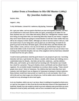 Reconstruction Worksheet: Letter from a Freedman to His Old Master