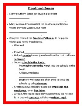 Reconstruction after the Civil War BUNDLE - 5th Social Studies