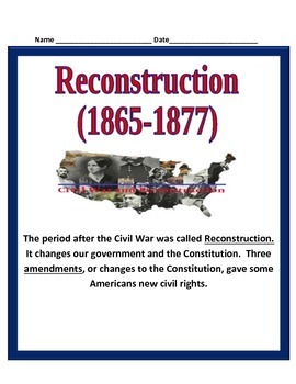 Reconstruction after the Civil War STUDY GUIDE- 5th Social Studies