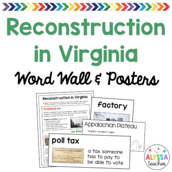 Reconstruction in Virginia Word Wall/Poster Set (VS.8)