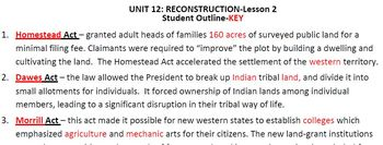 "Reconstruction:STUDENT OUTLINE&Key-Worksheets-Use w/""Reconstruction PowerPt 1&2"""