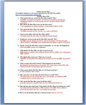 Reconstruction And The Ku Klux Klan Primary Source Worksheet