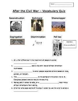 Recontruction After the Civil War Vocabulary Quiz
