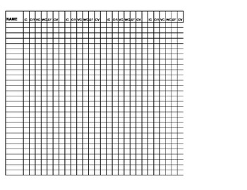 Record Book Blank Sheet for Scored Writing Samples Six Strands