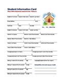 Record Keeping - Student Information Card - Parents and Emergency Contact