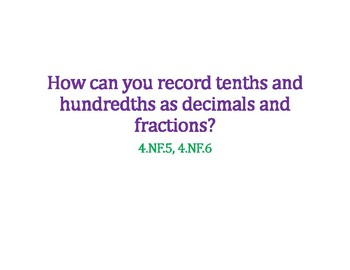 Record Tenths and Hundredths as Fractions and Decimals PowerPoint