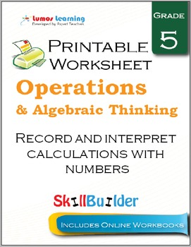 Record and Interpret Calculations with Numbers Printable Worksheet, Grade 5