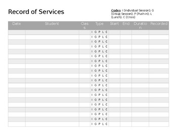 Record of Services