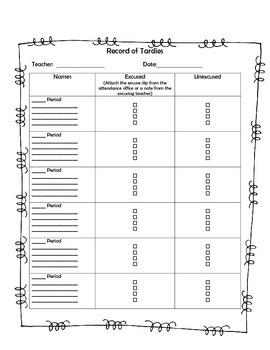 Record of Tardies