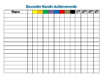 Recorder Achievement Chart