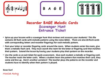 Recorder BAGE Melodic Cards