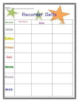 Recorder Belts Sheet!