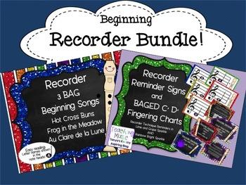 Recorder Bundle:Reminders,Fingerings,Tips, and 3 BAG Songs