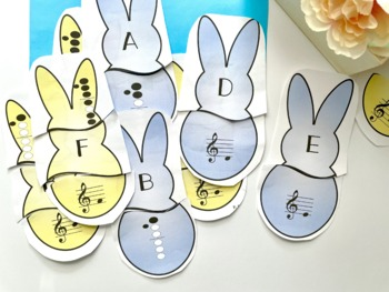 Recorder Bunny Matching Game for Spring Music Centers