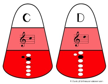 Recorder Candy Corn Matching Game for Fall Music Centers