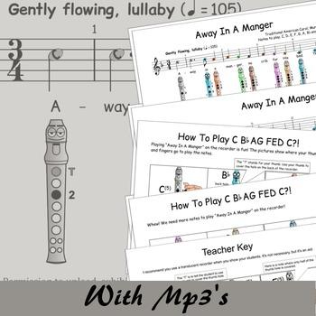 Recorder Christmas Sheet Music - Away In A Manger (Murray) - Digital Print F