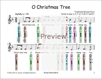 Recorder Christmas Sheet Music - O Christmas Tree F