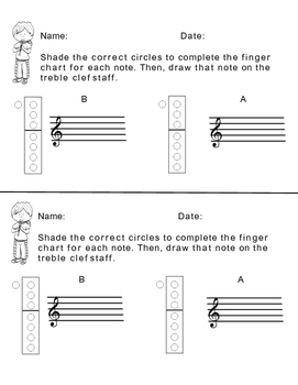 Recorder Finger Chart Practice Bundle