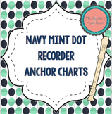 Recorder Fingering Anchor Charts {Navy Mint Dot Theme}