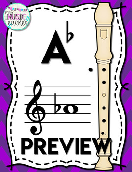 Recorder Fingering Chart Posters - PURPLE Chevrons (Soprano Baroque Recorder)
