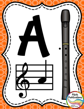 Recorder Fingering Chart Posters v1 - Music Decor Rainbow Brights