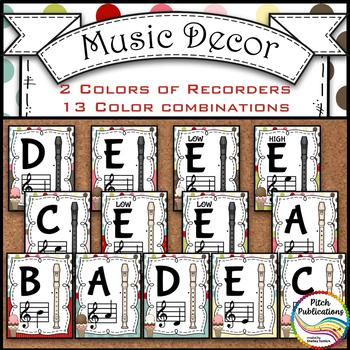 Recorder Fingering Chart Posters v1 - Music Decor SWEET SHOPPE