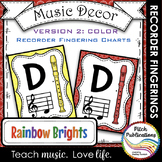 Recorder Fingering Chart Posters v2 COLOR - Music Decor Ra
